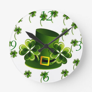 Irish Shamrock Art Round Clock