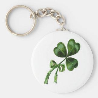 Irish Shamrock Basic Round Button Key Ring