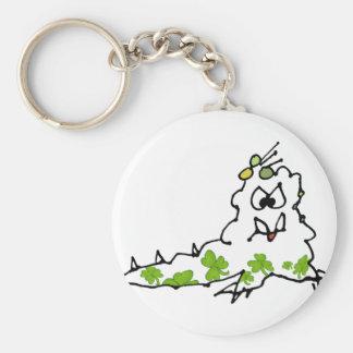 Irish Shamrock Cartoon Slug Monster Basic Round Button Key Ring