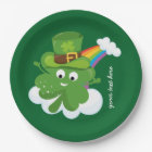 Irish Shamrock * choose your background colour Paper Plate