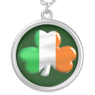 Irish Shamrock Clover Flag Round Pendant Necklace