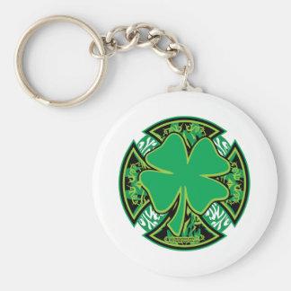 Irish Shamrock Cross Basic Round Button Key Ring