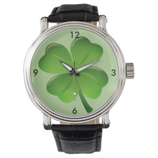 Irish Shamrock Four Leaf Clover Lucky Watch Green