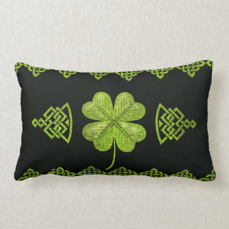 Irish Shamrock Four-leaf clover with celtic decor Lumbar Cushion