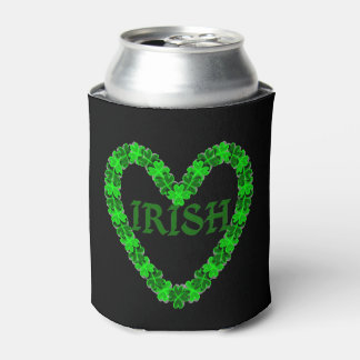 Irish Shamrock Heart Can Cooler