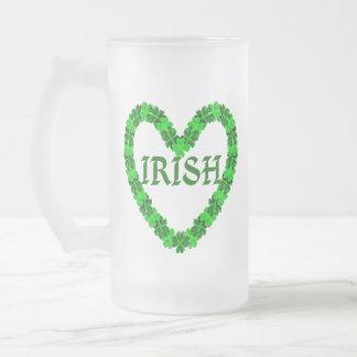 Irish Shamrock Heart Frosted Glass Beer Mug