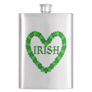 Irish Shamrock Heart Hip Flask