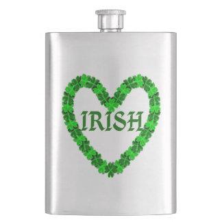 Irish Shamrock Heart Hip Flask