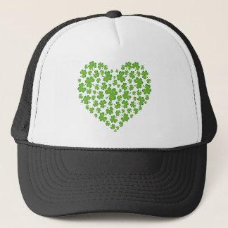 Irish Shamrock Heart Trucker Hat