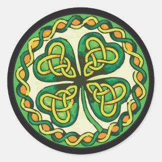 Irish Shamrock in Celtic Knots Classic Round Sticker
