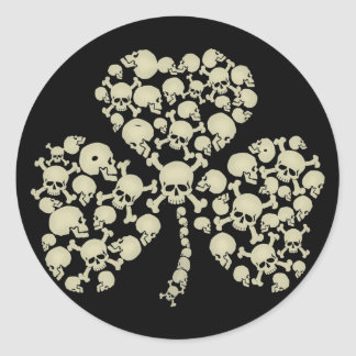 Irish Shamrock Skulls Round Sticker