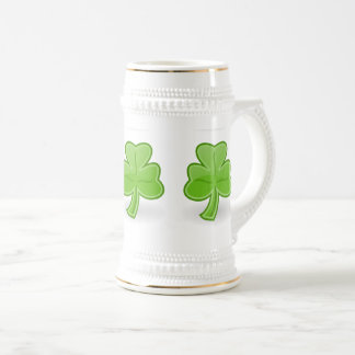 Irish Shamrock St. Patrick White/Gold Beer Mug