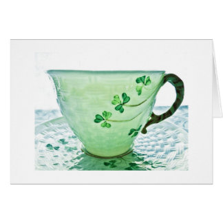 Irish Shamrock Tea Cup Blank Card Holiday