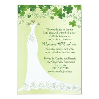 Irish shamrock, wedding gown Bridal Shower Card