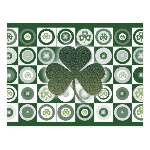 Irish shamrocks greeting postcards