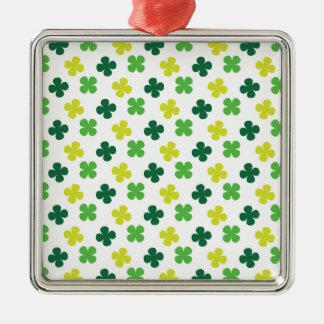 Irish Shamrocks Silver-Colored Square Decoration