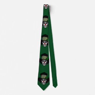 Irish Skeleton Clown Green Tie