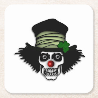 Irish Skeleton Clown Square Paper Coaster