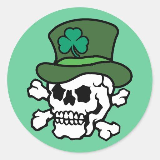 Irish Skull Round Stickers