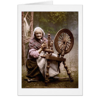 Irish Spinner and Spinning Wheel Card