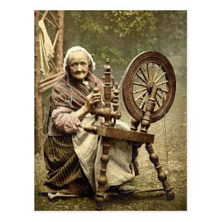 Irish Spinner and Spinning Wheel. Co. Galway, Irel Postcard