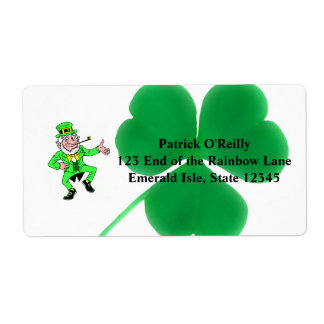Irish St Patrick Day | Shamrock Clover Leprechaun Shipping Label