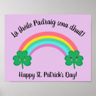 Irish St. Patrick's Day Poster with Rainbow