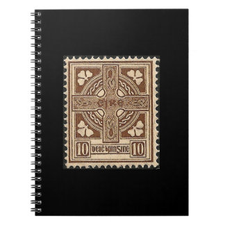Irish Stamp Black Spiral Notebook