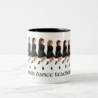 Irish Step Dance Teacher - Black Line Two-Tone Coffee Mug