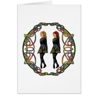 Irish Step Dancers in Celtic Knotwork Surround Greeting Card