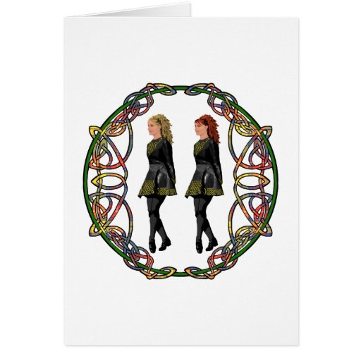 Irish Step Dancers in Celtic Knotwork Surround Greeting Cards