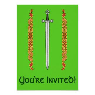 "Irish Sword and Knotwork Invitations 5"" X 7"" Invitation Card"
