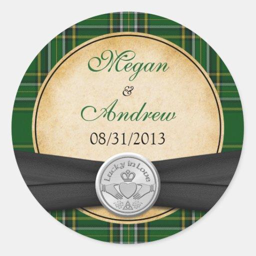 Irish Tartan Celtic Claddagh Lucky in Love Wedding Stickers