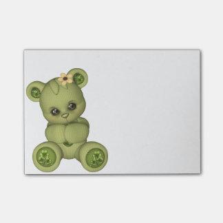 Irish Teddy Bear four leaf clover yellow green Post-it® Notes