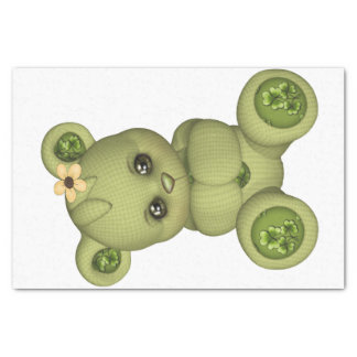 Irish Teddy Bear four leaf clover yellow green Tissue Paper