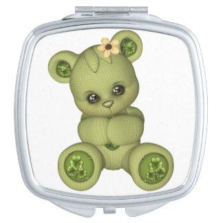 Irish Teddy Bear four leaf clover yellow green Vanity Mirrors