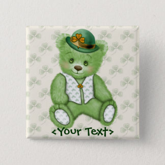 Irish Teddybear - Green 15 Cm Square Badge