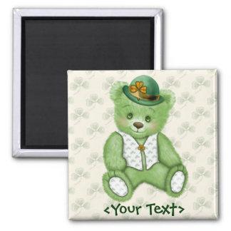 Irish Teddybear - Green Square Magnet