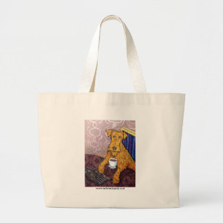 Irish Terrier at the Coffee Shop Large Tote Bag