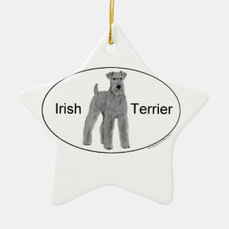 Irish Terrier Euro Style Ceramic Star Decoration