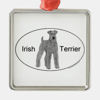 Irish Terrier Euro Style Silver-Colored Square Decoration