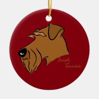 Irish Terrier head silhouette Ceramic Ornament