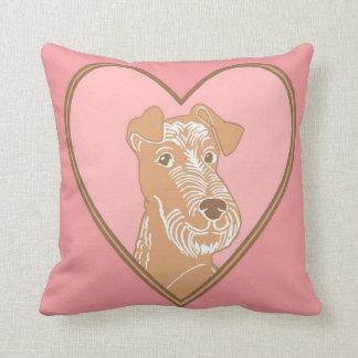 Irish Terrier Pink Heart Pillow