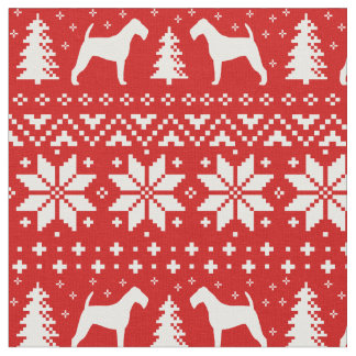 Irish Terrier Silhouettes Christmas Pattern Red Fabric