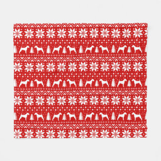 Irish Terrier Silhouettes Christmas Pattern Red Fleece Blanket
