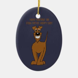 Irish Terrier Smile Ceramic Oval Decoration