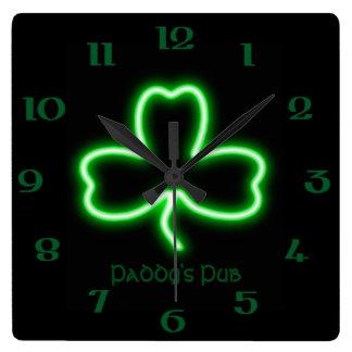 Irish themed Shamrock personalised Pub neon sign Square Wall Clock