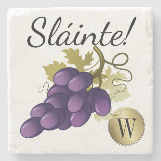 Irish Toast Wine Grapes Monogram Coaster