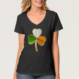 Irish Tri Color Flag Shamrock Design T-Shirt