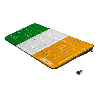 Irish Tricolor Themed Flag Personalized Wireless Keyboard
